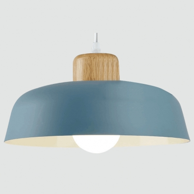 Modern Style Coffee Shop Single Pendant Light with Metal Barn Shade 6 Colors Available