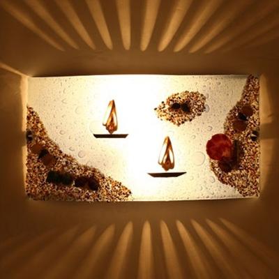 Nautical Blue Glass Wall Sconce with Seashell 2 Lights Wall Lighting for Nursing Room