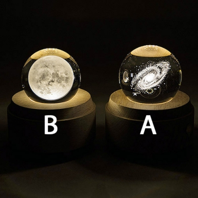 Rechargeable Clear Crystal Globe Girls Bedroom Night Light 2 Styles for Option