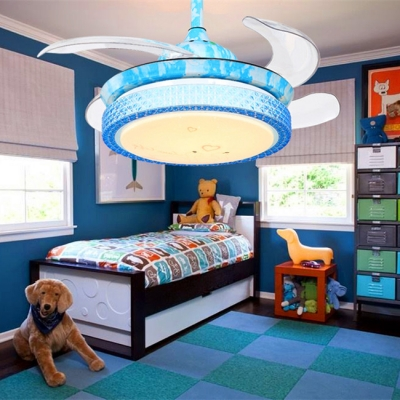 14.18'' W Mediterranean Style Crystal Retractable Blue Hanging Ceiling Fan with Light
