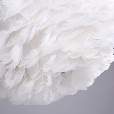 15.75 Inch Reversible Feather Shade Ceiling Pendant Light in White