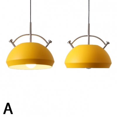 Dome Shade 1 Light Suspended Light Nordic Macaron Dining Table Metal Hanging Lamp
