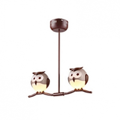 Cute Owl Design Hanging Lamp Animals&Insects Kindergarten Plastic 1/2/3/4 Lights Chandelier Light in Bronze