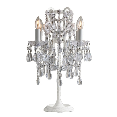 French Country Style 4 Light Crystal Table Lamp in White Finish
