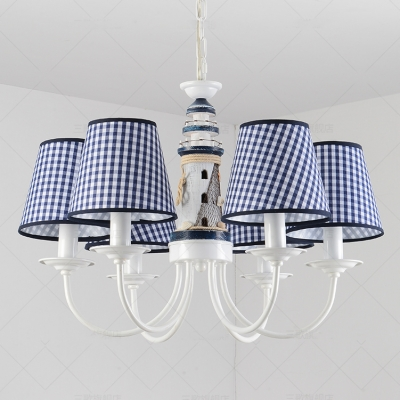 Navy Blue Trellis Chandelier Light Fabric 6 Lights Suspension