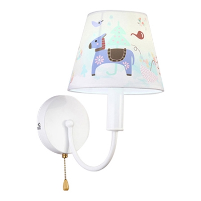 Curved Arm 1 Head Wall Lamp with Animal Pattern White Finish Fabric Shade Wall Light Fixture for Bedroom