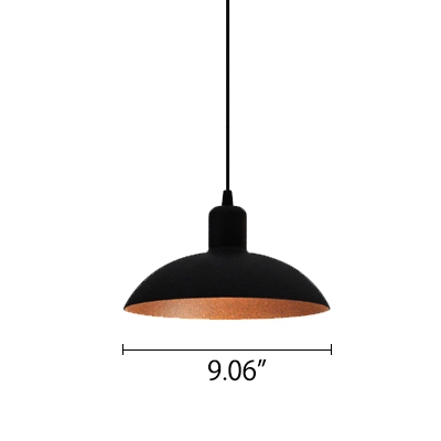 Matte Black Industrial Style One-Light Hanging Fixture with Shallow Round Shade