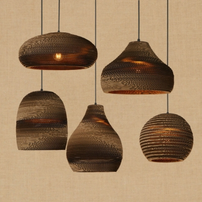 Retro Style Adjustable Ceiling Pendant Light with Wrinkled Paper Shade for Dining Room Hallway 5 Designs Available