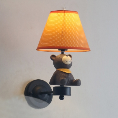 Shaded 1 Light Wall Light Sconce Animals&Insects Black/White Finish Metallic Wall Lamp for Children Room