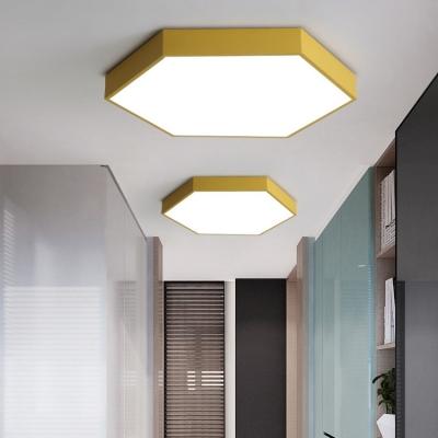 Hexagon Flush Light Colorful Macaron Acrylic Flush Mount Lighting for Bedroom in Warm/White