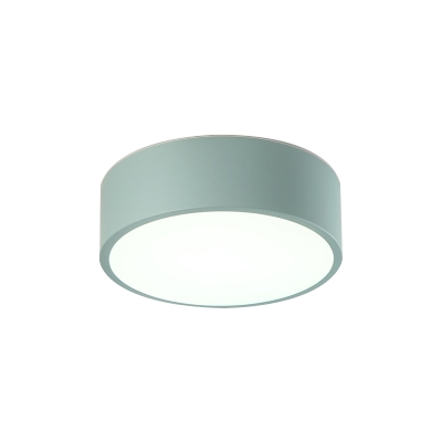 Colorful Macaron Cylinder Flush Mount Metallic LED Ceiling Light for Kids Living Room