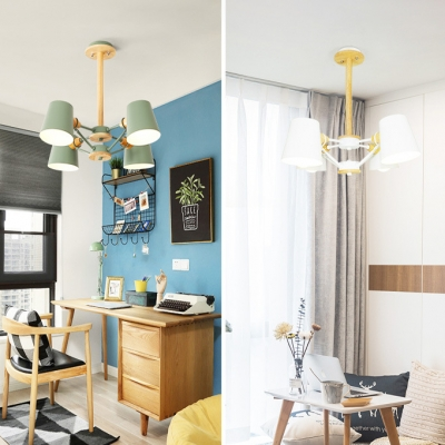 Metal Suspension Light with Coolie Shade Colorful Simple 4/6 Lights Chandelier Lamp for Bedroom