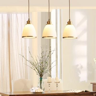 Transitional Style White Glass Shade One Bulb Mini Pendant Bar Lamp