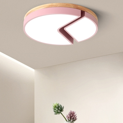 Wooden Ceiling Flush Mount with Drum Colorful Macaron LED Flushmount for Children Room