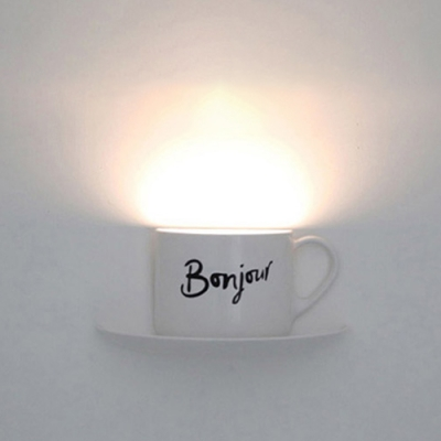 Creative Voice-Control Cup Shape Wall Night Light in White
