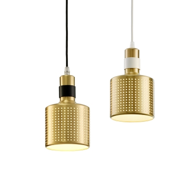 Cylindrical Metal Shade Satin Brass Mini Hanging Pendant Light for Cafe Bar 2 Colors Available