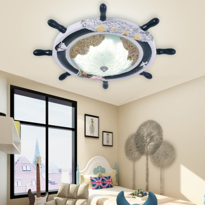 Glass LED Flush Ceiling Light with Round Rudder Blue Ceiling Fixture for Children Room