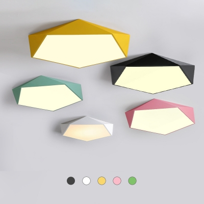 Simple Colorful Pentagon Ceiling Lamp Children Bedroom Acrylic Flush Mount Lighting