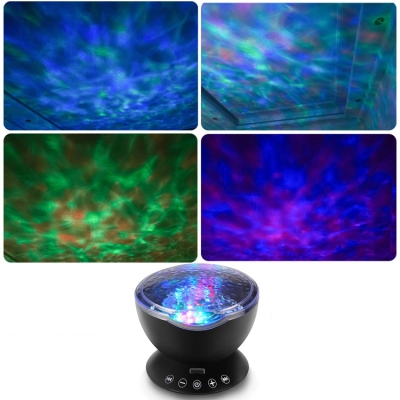 Modern Plastic Nebula Projector Night Light in Black/White/Blue