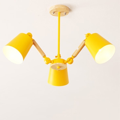 Adjustable Coolie Shade Hanging Light Living Room Metal 3/5 Lights Chandelier Lamp