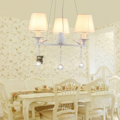 Rustic Style 3/6/8 Bulb Cascade Chandelier Light with Hanging Crystal Bird Decorative