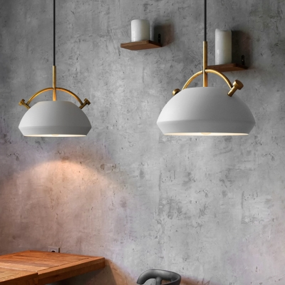 Satin Black/White Finish 1 Light Pendant Lamp with Aged Brass Handle Three Styles Available
