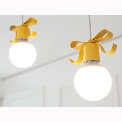 Metallic Hanging Light with Ribbon Decoration Modern 1 Bulb Suspension Light for Girls Room