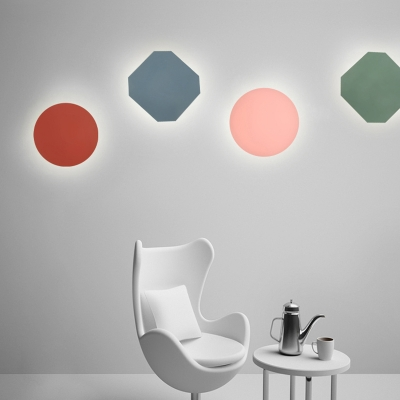 Simple Macaroon Style Mini Wall Sconce In Round Octagon Shade For Kids Room
