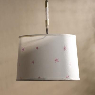 Adjustable 5 Light Drum Hanging Chandelier Cities&Countries Fabric Suspension Light for Corridor