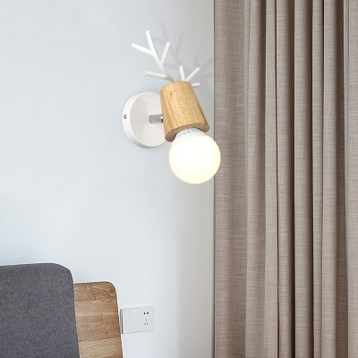 Wood Single Light Wall Light with Antler and Metal Base