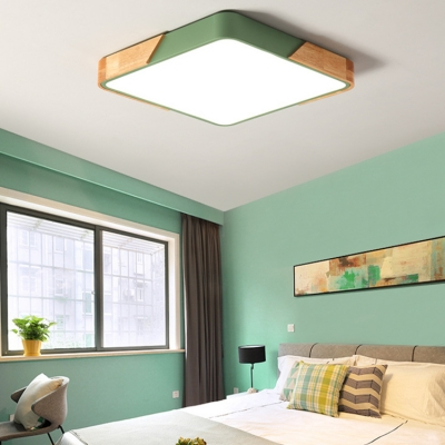 Square Bedroom Ceiling Light Nordic Style Modern Acrylic LED Flush Light Fixture in Green/Pink/White