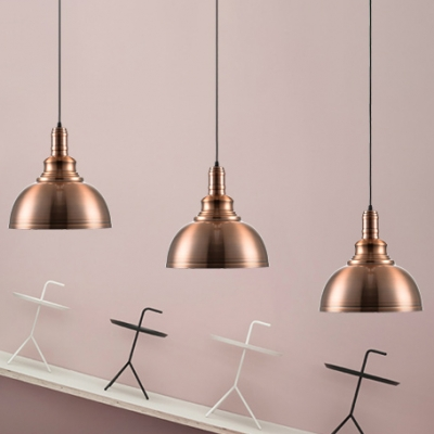 Copper Finish 1 Light Coffee House Hallway Hanging Lamp with Metal Dome Shade