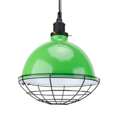 Wire Caged Industrial Style 1-Light Chain Hanging Light Fixture in Multiple Colors