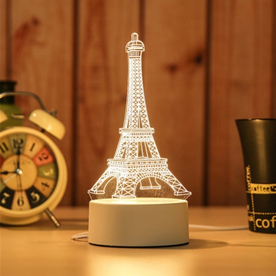 Button Switch/Usb Touch/Remote Acrylic Ferris Wheel/Eiffel Tower/Castle 3D Night Light