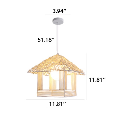 Decroative Natural Rope House Shade One Light Hanging Pendant