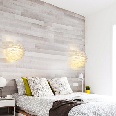 Feather Shade White Wall Lighting for Decorative