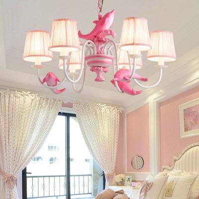 ... 3/6 Lights Dolphin Island Chandelier Kids Room Fabric Suspension Light  In Blue/Pink ...