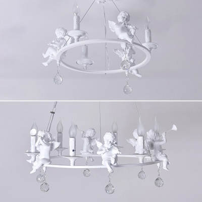 Modern Chandelier Lighting Round Ring Angel Baby Crystal Balls Chandelier Light in White