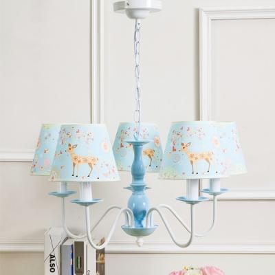 3/5 Lights Tapered Suspension Light Nursing Room Metallic Decorative Chandelier Light in White Finish