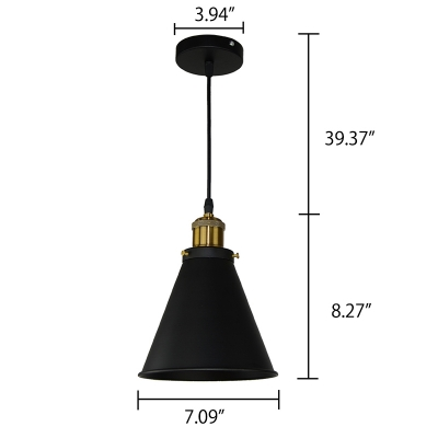 Satin Black Finish Conical Metal Shade 1 Light Pendant Fixture in Simple Style 7