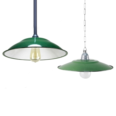 Vintage Style Railroad Shade One Bulb Warehouse Hanging Lamp in Forest Green Finish