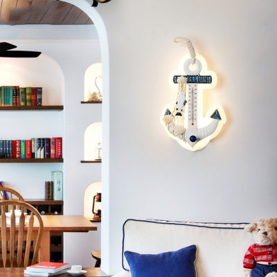 Plastic Anchor Wall Light Fixture Mediterranean Children Room LED Wall Sconce in Warm