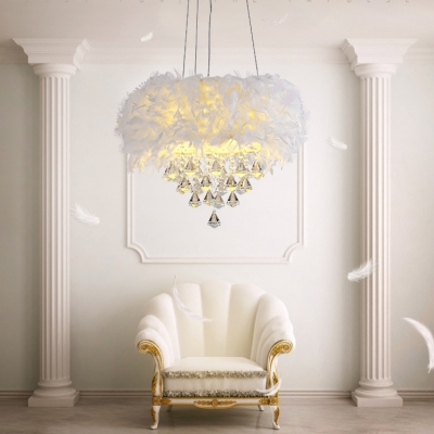 French Country Crystal Chandelier Feature Drum Shade