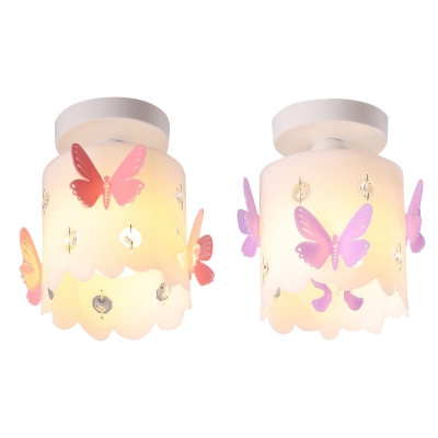 Girls Room Semi Flushmount Light Butterfly Glass Shade Ceiling Light Fixture in White