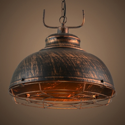 Industrial Style Distressed Bronze Finish 1 Bulb Hanging Pendant Lamp with Adjustable Chain 12/16 Inch Wide