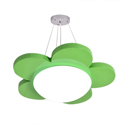 Eye Protection Flower Flush Light Nursing Room Acrylic LED Flush Mount Lighting in Blue/Green/Yellow/Red
