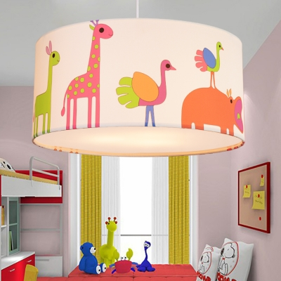 Lovely 3/5 Lights Drum Hanging Lamp Modern Baby Girls Bedroom Multicolored Fabric LED Suspension Light