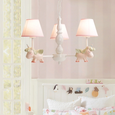 White Finish Cartoon Unicorn Chandelier Metallic 3 5 6 Lights Hanging
