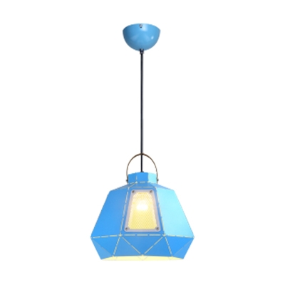 Multiple Colors Single Bulb Restaurant Pendant Light with Hollowed-Out Shade