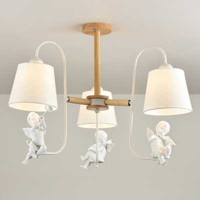 Cone Shade Hanging Lamp with Angel Baby/Bird Kids Room Wooden 3/6 Lights Suspended Light in White Finish